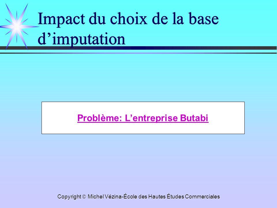 Copyright Michel Vézina-École des Hautes Études Commerciales Impact du choix de la base dimputation Problème: Lentreprise Butabi