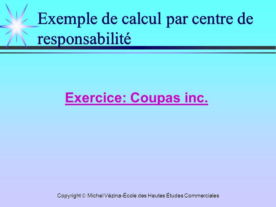 Copyright Michel Vézina-École des Hautes Études Commerciales Exemple de calcul par centre de responsabilité Exercice: Coupas inc.