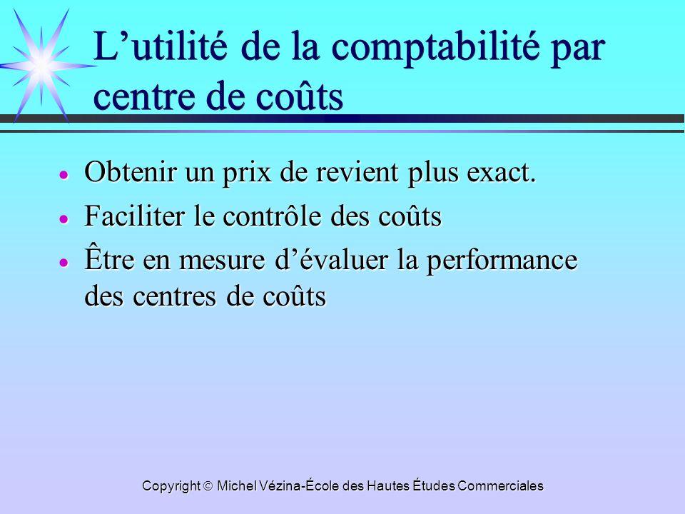Copyright Michel Vézina-École des Hautes Études Commerciales Lutilité de la comptabilité par centre de coûts Obtenir un prix de revient plus exact.