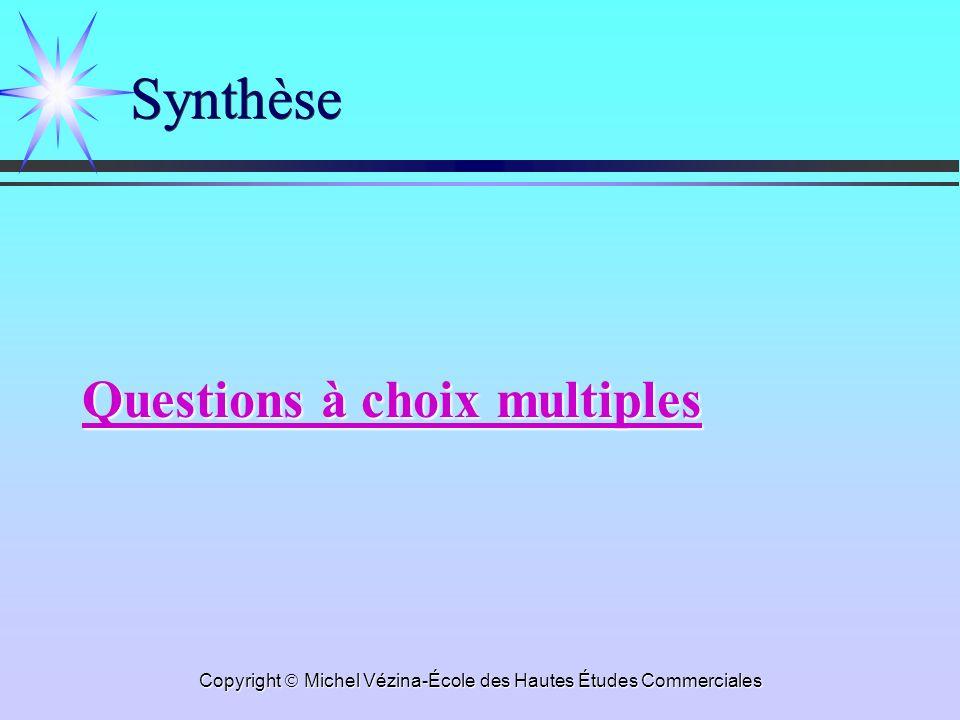 Copyright Michel Vézina-École des Hautes Études Commerciales Synthèse Questions à choix multiples Questions à choix multiples