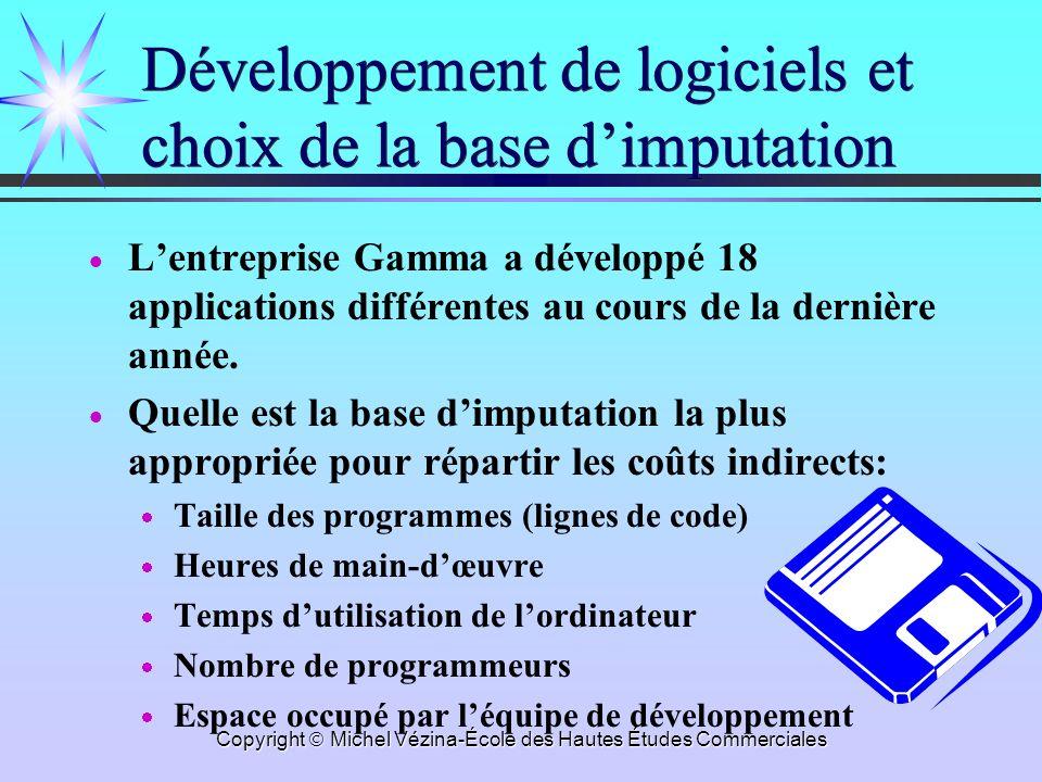 Copyright Michel Vézina-École des Hautes Études Commerciales Développement de logiciels et choix de la base dimputation Lentreprise Gamma a développé 18 applications différentes au cours de la dernière année.