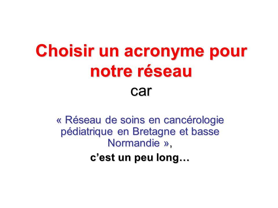 Choisir un acronyme pour notre réseau car « Réseau de soins en cancérologie pédiatrique en Bretagne et basse Normandie », cest un peu long…