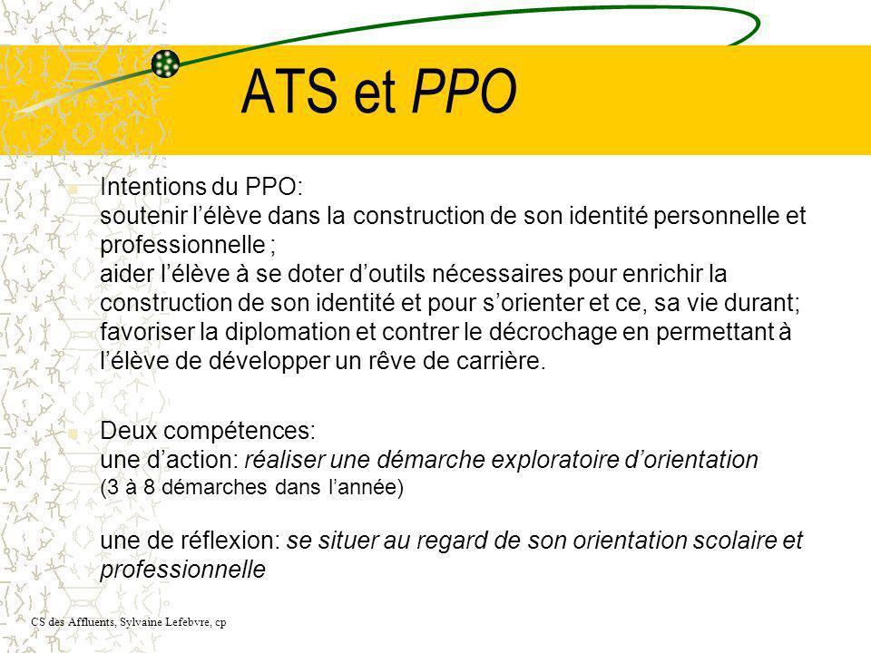 ATS et PPO Intentions du PPO: soutenir lélève dans la construction de son identité personnelle et professionnelle ; aider lélève à se doter doutils né