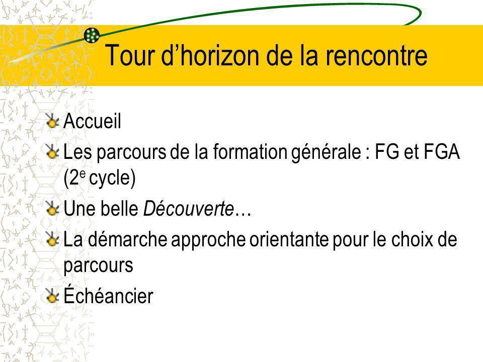 Tour dhorizon de la rencontre Accueil Les parcours de la formation générale : FG et FGA (2 e cycle) Une belle Découverte … La démarche approche orientante pour le choix de parcours Échéancier