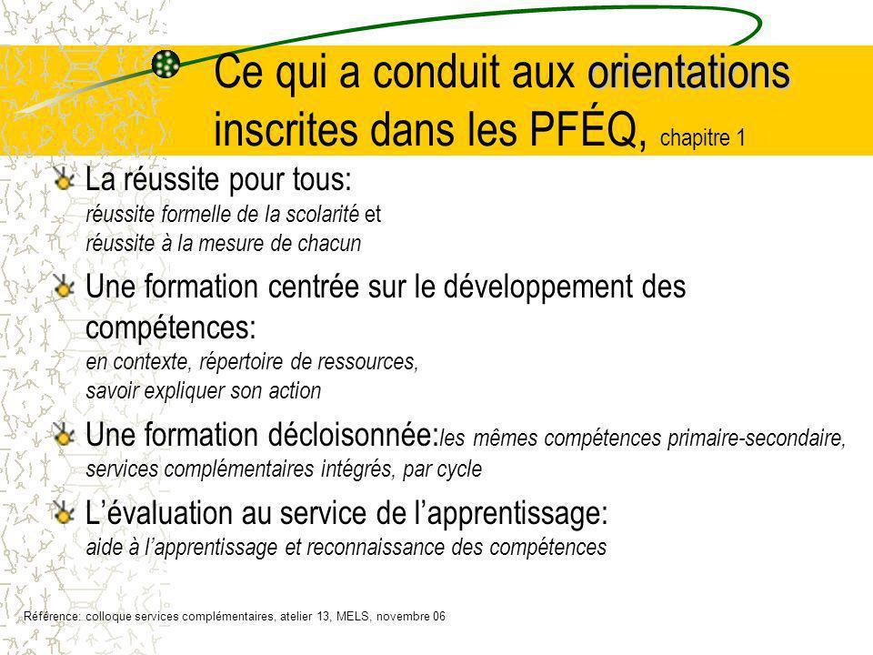 orientations Ce qui a conduit aux orientations inscrites dans les PFÉQ, chapitre 1 La réussite pour tous: réussite formelle de la scolarité et réussit
