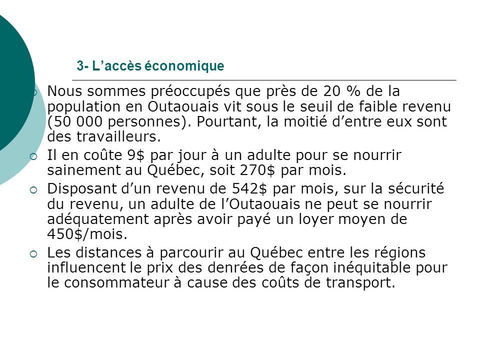 3- Laccès économique Nous sommes préoccupés que près de 20 % de la population en Outaouais vit sous le seuil de faible revenu (50 000 personnes).