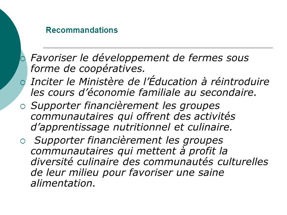 Recommandations Favoriser le développement de fermes sous forme de coopératives.