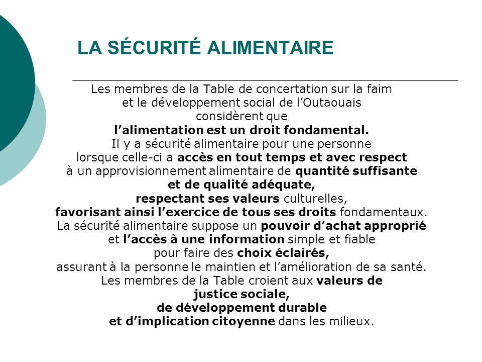 LA SÉCURITÉ ALIMENTAIRE Les membres de la Table de concertation sur la faim et le développement social de lOutaouais considèrent que lalimentation est un droit fondamental.