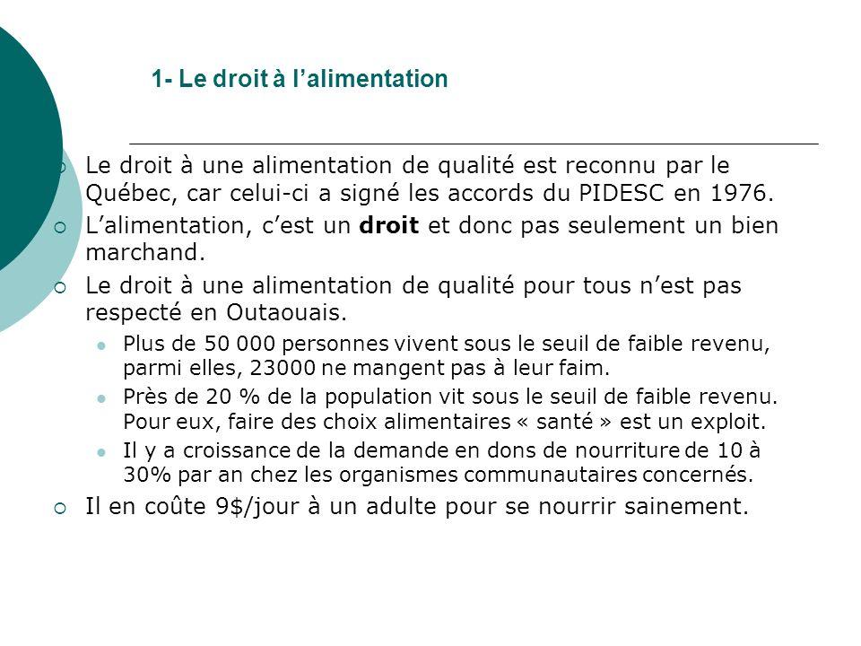 1- Le droit à lalimentation Le droit à une alimentation de qualité est reconnu par le Québec, car celui-ci a signé les accords du PIDESC en 1976.