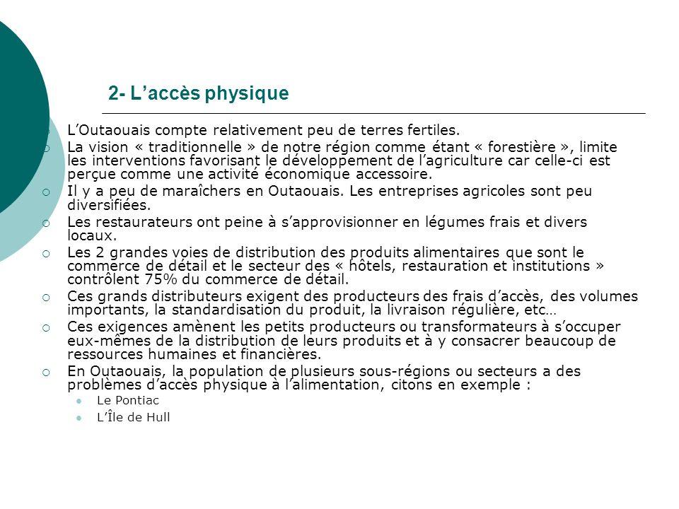 2- Laccès physique LOutaouais compte relativement peu de terres fertiles.