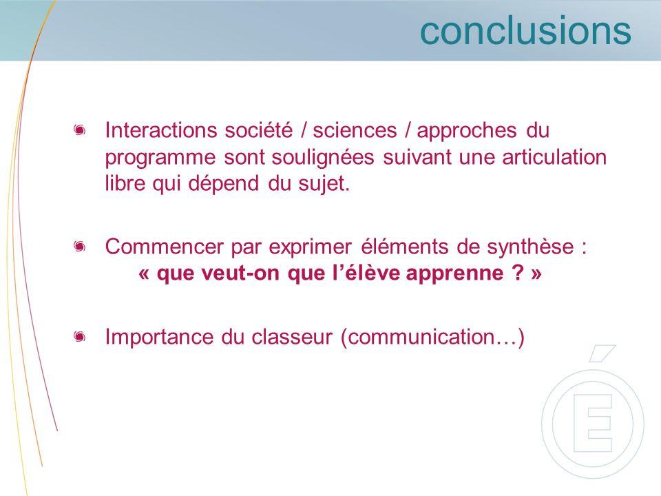 conclusions Interactions société / sciences / approches du programme sont soulignées suivant une articulation libre qui dépend du sujet.
