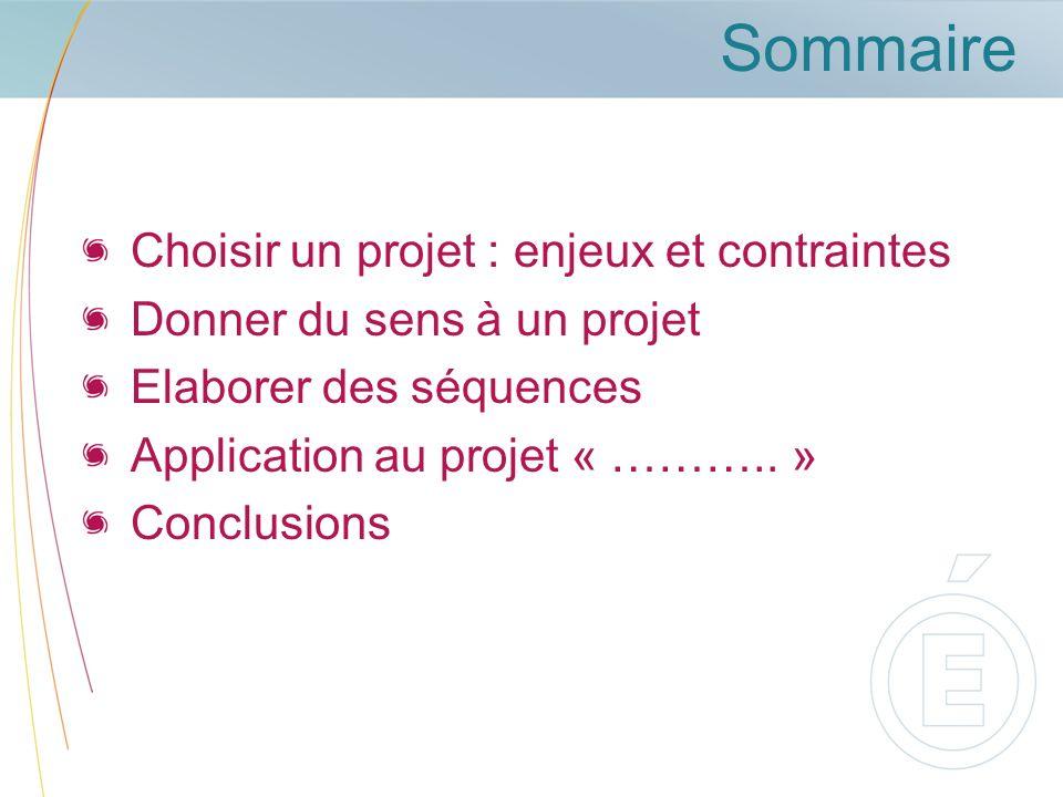 Sommaire Choisir un projet : enjeux et contraintes Donner du sens à un projet Elaborer des séquences Application au projet « ………..