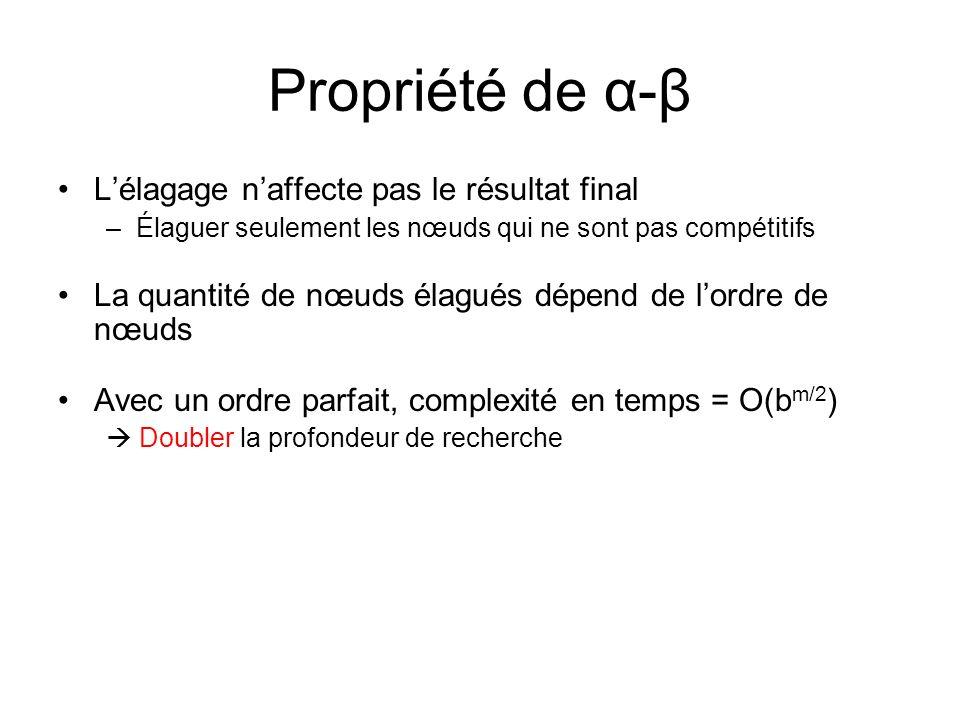 Propriété de α-β Lélagage naffecte pas le résultat final –Élaguer seulement les nœuds qui ne sont pas compétitifs La quantité de nœuds élagués dépend de lordre de nœuds Avec un ordre parfait, complexité en temps = O(b m/2 ) Doubler la profondeur de recherche