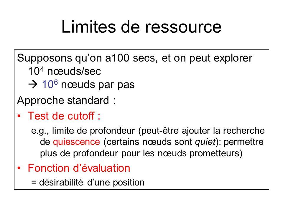 Limites de ressource Supposons quon a100 secs, et on peut explorer 10 4 nœuds/sec 10 6 nœuds par pas Approche standard : Test de cutoff : e.g., limite de profondeur (peut-être ajouter la recherche de quiescence (certains nœuds sont quiet): permettre plus de profondeur pour les nœuds prometteurs) Fonction dévaluation = désirabilité dune position