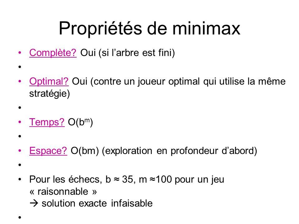 Propriétés de minimax Complète. Oui (si larbre est fini) Optimal.