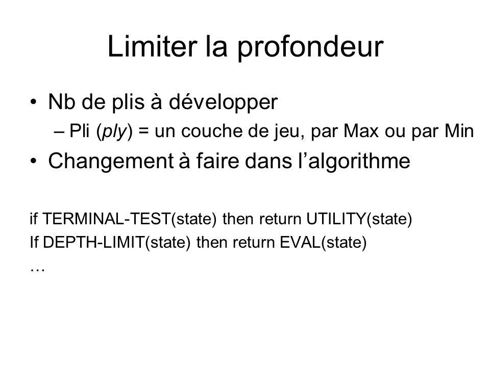 Limiter la profondeur Nb de plis à développer –Pli (ply) = un couche de jeu, par Max ou par Min Changement à faire dans lalgorithme if TERMINAL-TEST(state) then return UTILITY(state) If DEPTH-LIMIT(state) then return EVAL(state) …