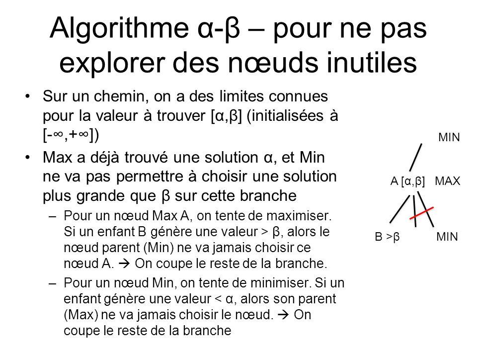 Algorithme α-β – pour ne pas explorer des nœuds inutiles Sur un chemin, on a des limites connues pour la valeur à trouver [α,β] (initialisées à [-,+]) Max a déjà trouvé une solution α, et Min ne va pas permettre à choisir une solution plus grande que β sur cette branche –Pour un nœud Max A, on tente de maximiser.