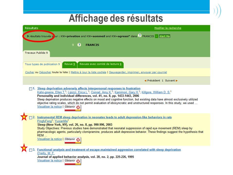 Bibliothèque de l'Université Laval13 Résultats de la recherche avancée Affichage des résultats