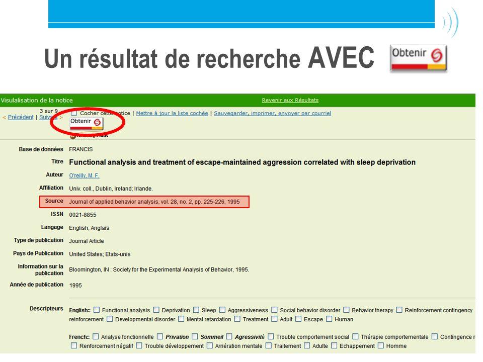 Bibliothèque de l Université Laval14 Un résultat de recherche AVEC