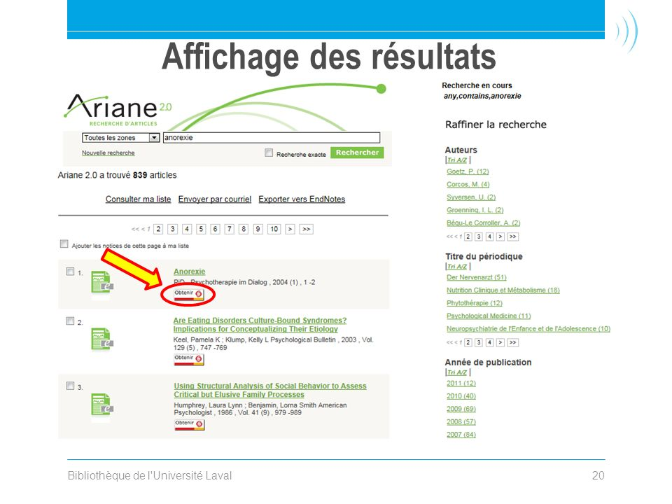Affichage des résultats Bibliothèque de l Université Laval20