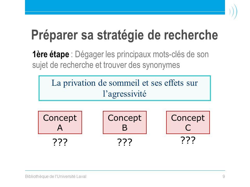 Bibliothèque de l Université Laval9 1ère étape : Dégager les principaux mots-clés de son sujet de recherche et trouver des synonymes .