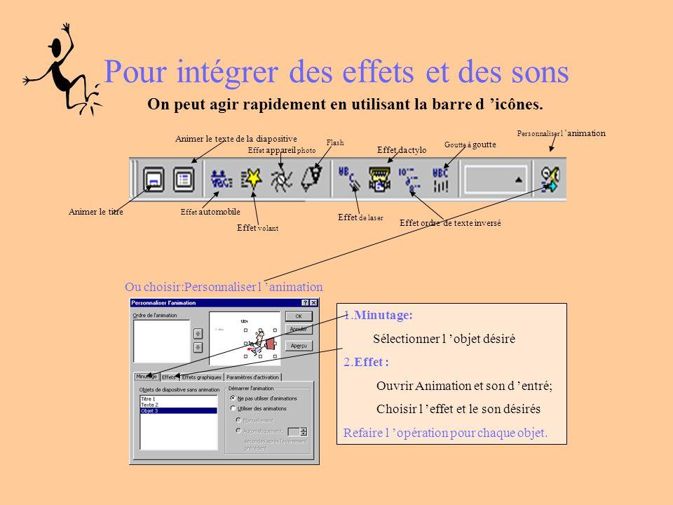 Pour intégrer des effets et des sons On peut agir rapidement en utilisant la barre d icônes.