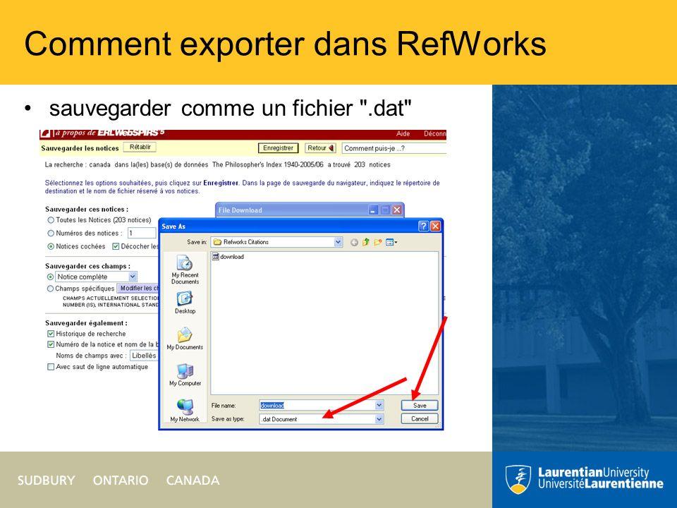 Comment exporter dans RefWorks sauvegarder comme un fichier .dat