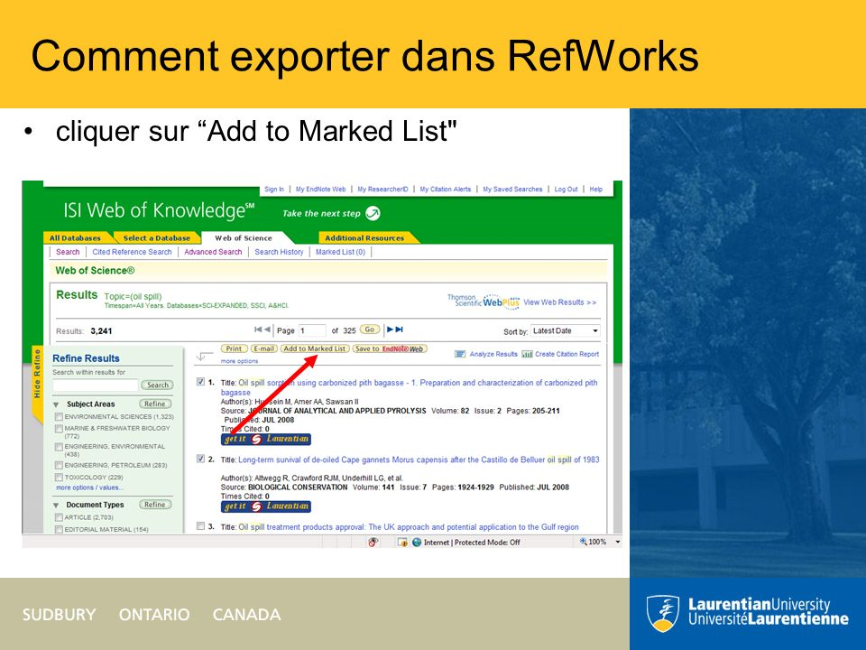 Comment exporter dans RefWorks cliquer sur Add to Marked List