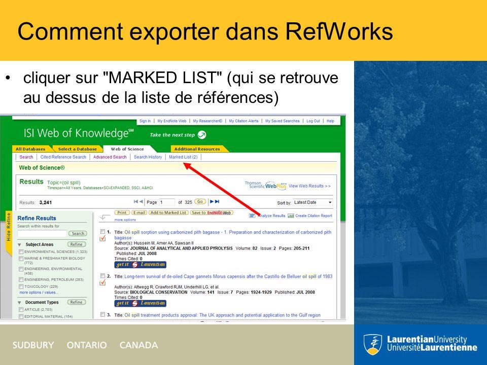 Comment exporter dans RefWorks au Step 1.