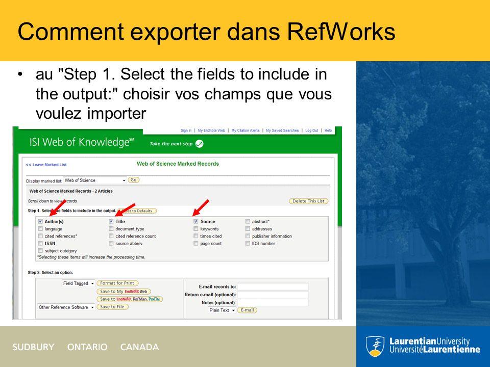 Comment exporter dans RefWorks au Step 2.