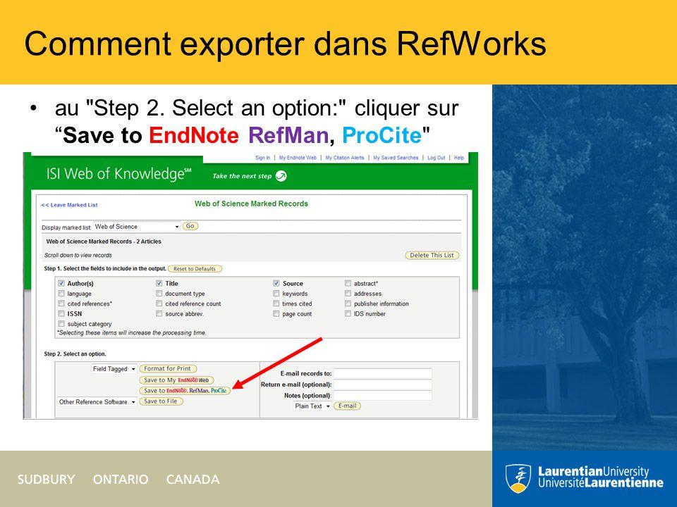 Comment exporter dans RefWorks cliquer sur Save