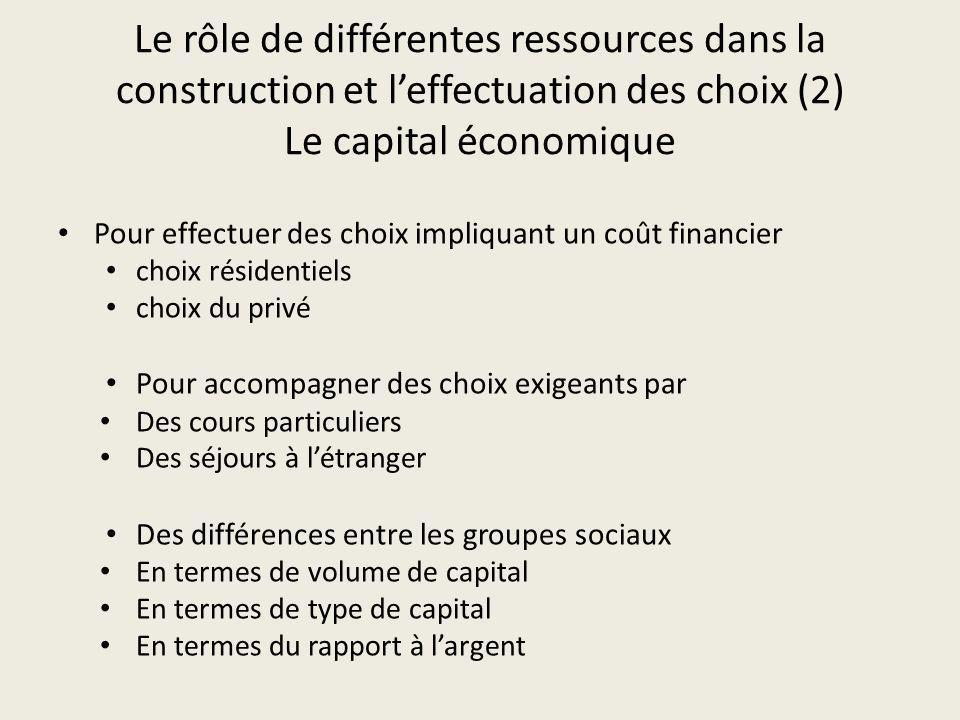 Le rôle de différentes ressources dans la construction et leffectuation des choix (2) Le capital économique Pour effectuer des choix impliquant un coû