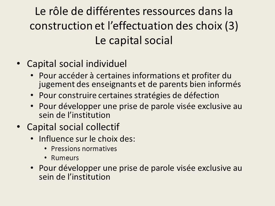 Le rôle de différentes ressources dans la construction et leffectuation des choix (3) Le capital social Capital social individuel Pour accéder à certa