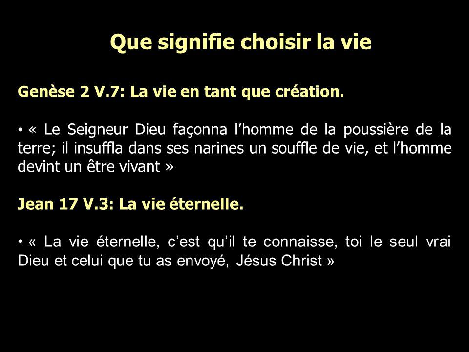 Que signifie choisir la vie Genèse 2 V.7: La vie en tant que création. « Le Seigneur Dieu façonna lhomme de la poussière de la terre; il insuffla dans