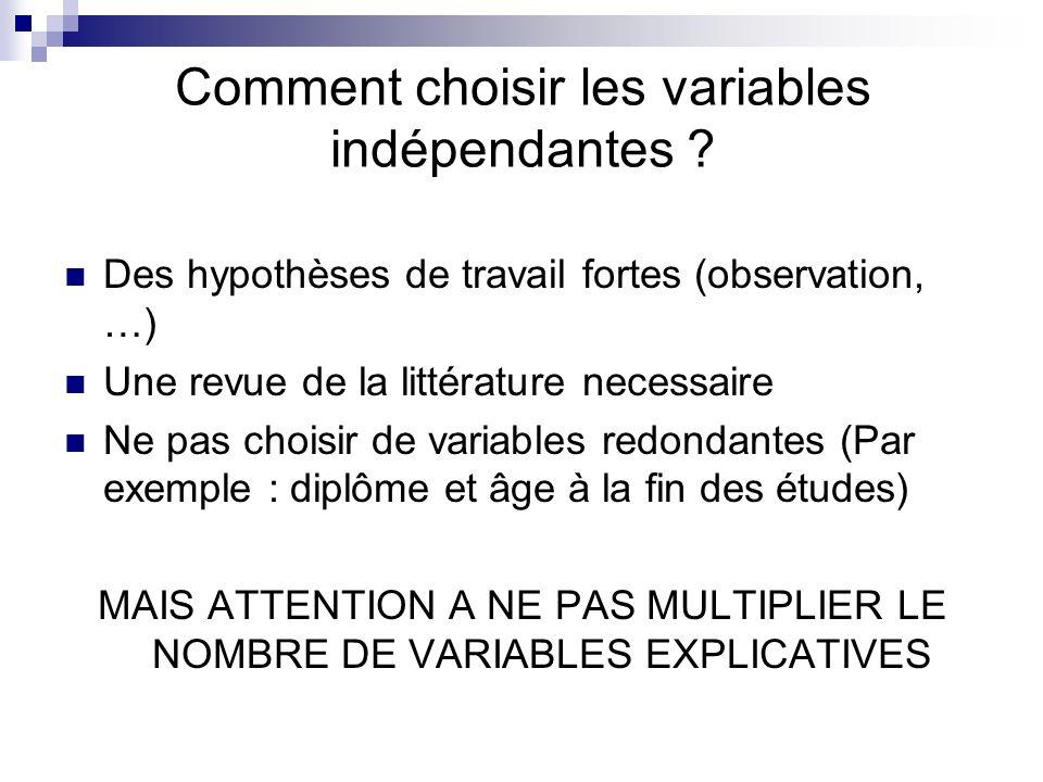 Comment choisir les variables indépendantes ? Des hypothèses de travail fortes (observation, …) Une revue de la littérature necessaire Ne pas choisir