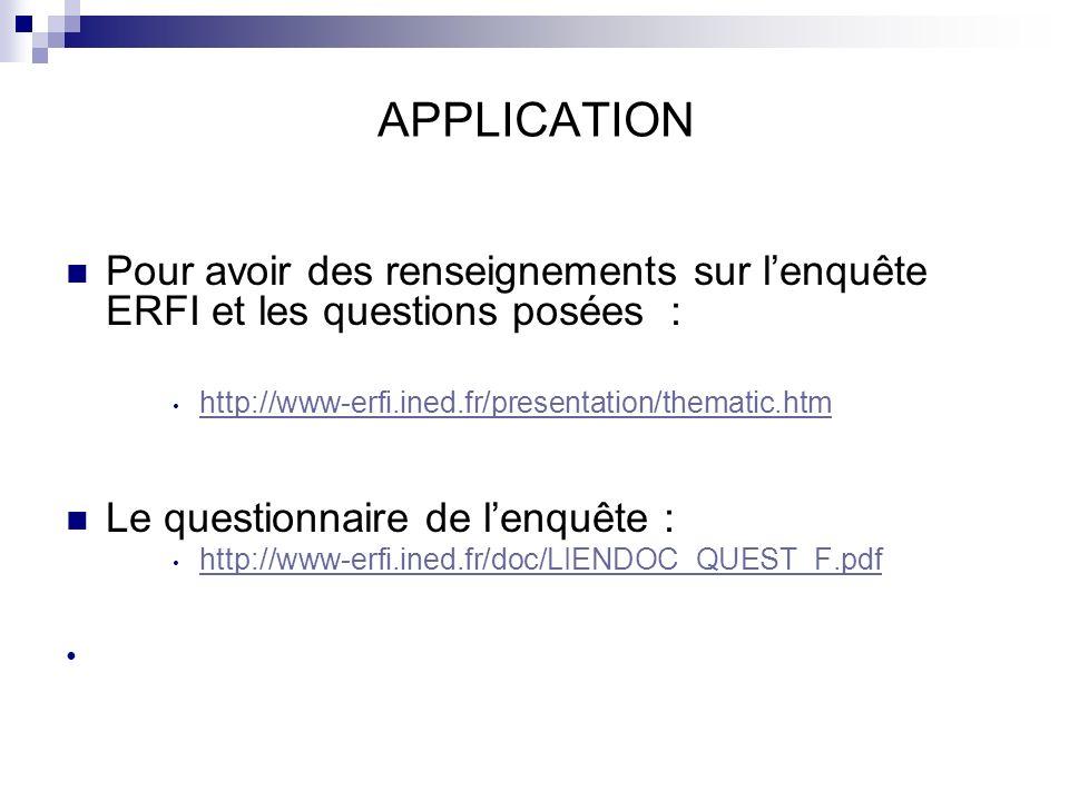 APPLICATION Pour avoir des renseignements sur lenquête ERFI et les questions posées : http://www-erfi.ined.fr/presentation/thematic.htm Le questionnai