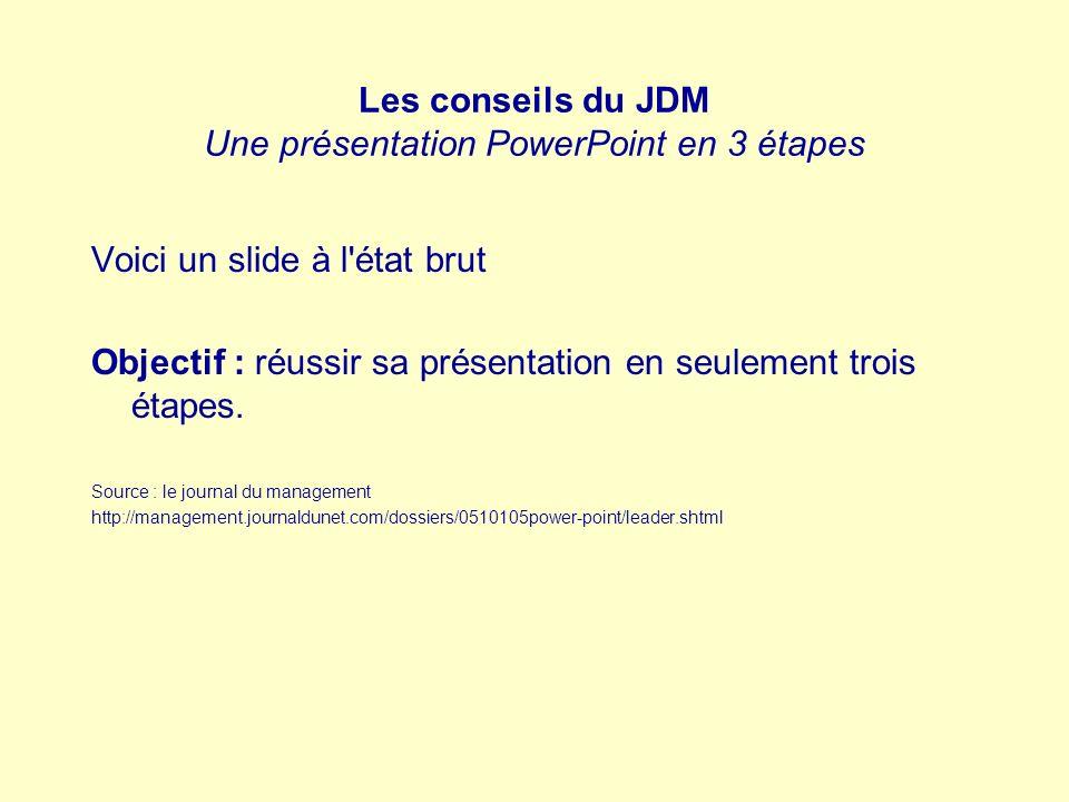 Les conseils du JDM Une présentation PowerPoint en 3 étapes Voici un slide à l'état brut Objectif : réussir sa présentation en seulement trois étapes.