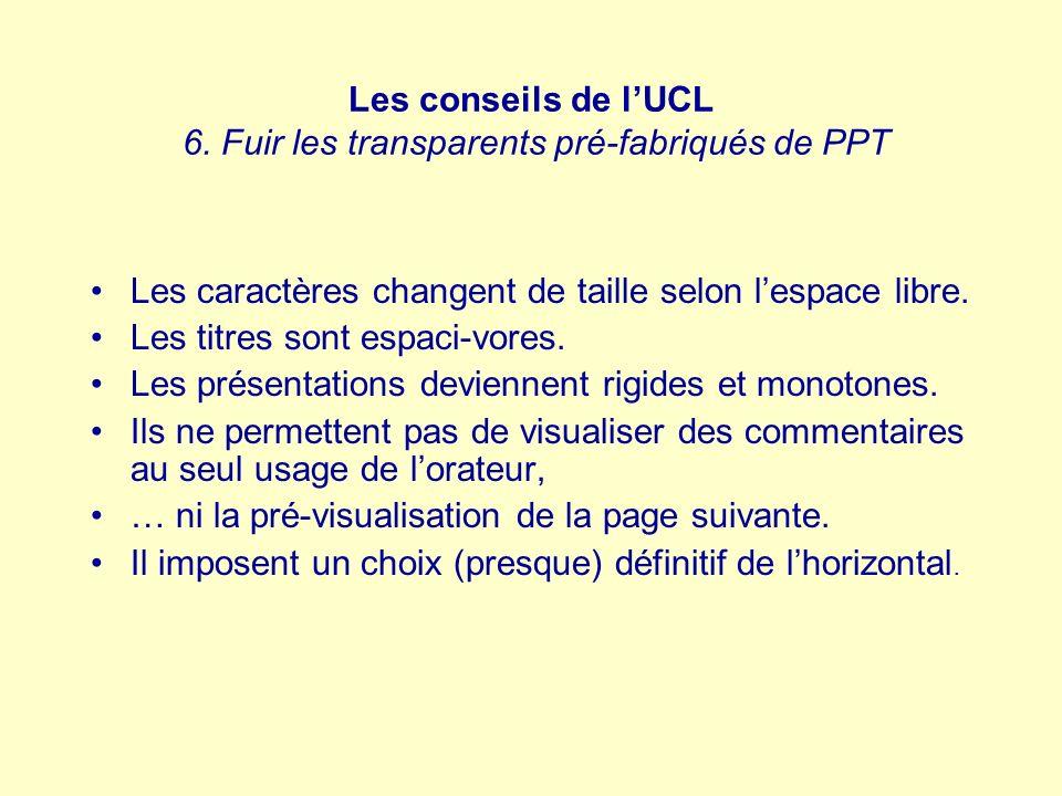 Les conseils de lUCL 6. Fuir les transparents pré-fabriqués de PPT Les caractères changent de taille selon lespace libre. Les titres sont espaci-vores
