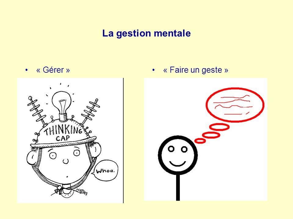 La gestion mentale « Gérer »« Faire un geste »