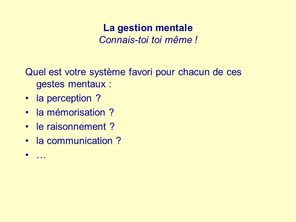 La gestion mentale Connais-toi toi même ! Quel est votre système favori pour chacun de ces gestes mentaux : la perception ? la mémorisation ? le raiso