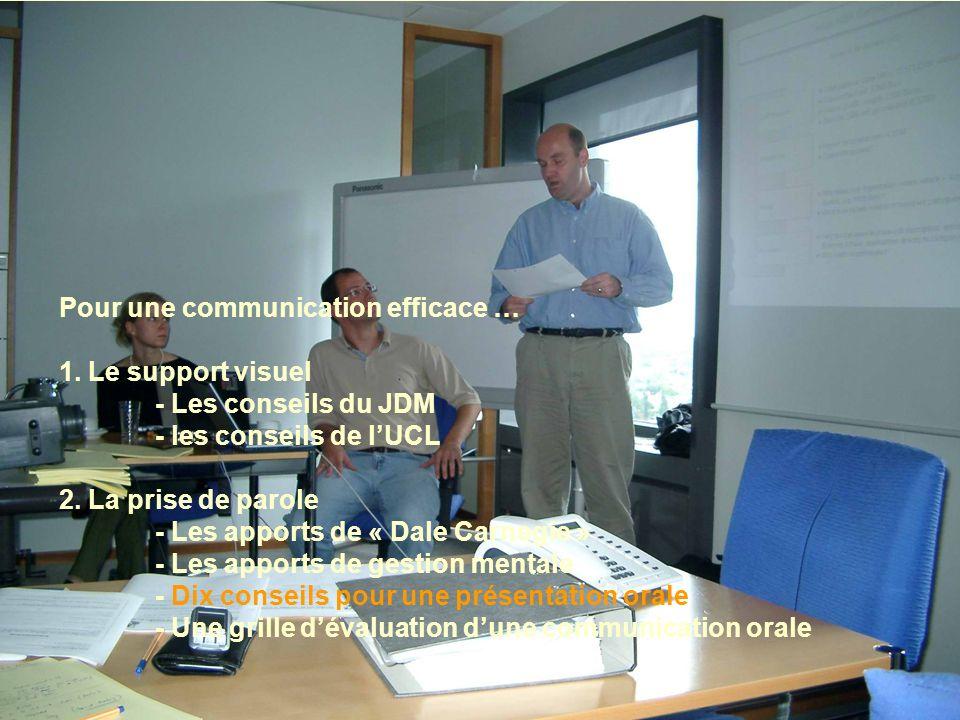 Pour une communication efficace … 1. Le support visuel - Les conseils du JDM - les conseils de lUCL 2. La prise de parole - Les apports de « Dale Carn