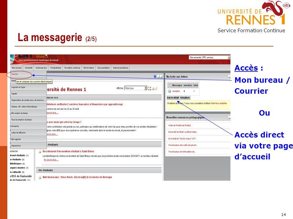 Service Formation Continue 14 La messagerie (2/5) Accès : Mon bureau / Courrier Ou Accès direct via votre page daccueil