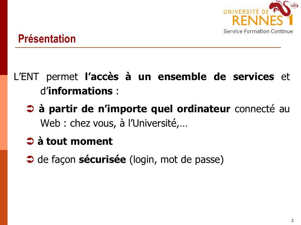 Service Formation Continue 3 Accéder à lENT Valider son mot de passe « Sésame » Se connecter à lENT Accéder à un poste informatique