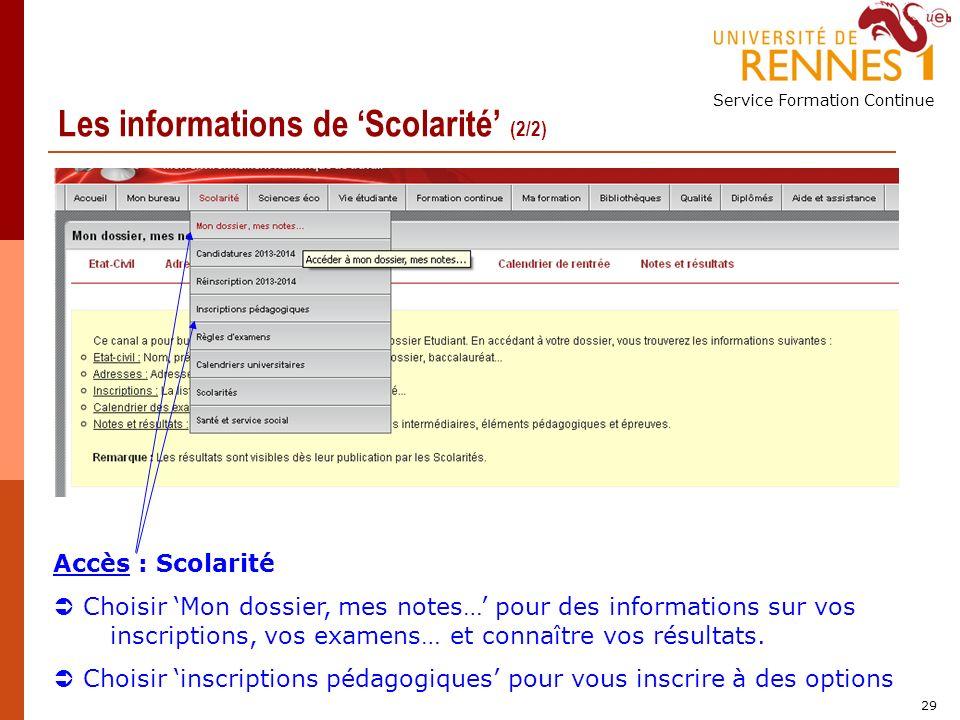Service Formation Continue 29 Les informations de Scolarité (2/2) Accès : Scolarité Choisir Mon dossier, mes notes… pour des informations sur vos inscriptions, vos examens… et connaître vos résultats.