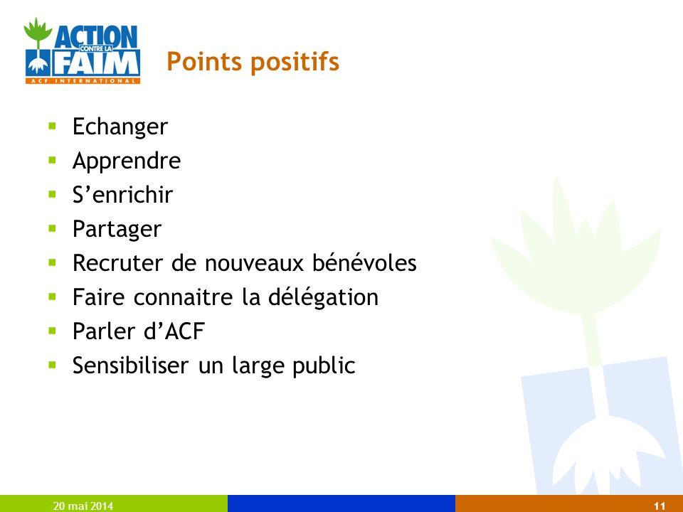 Points positifs Echanger Apprendre Senrichir Partager Recruter de nouveaux bénévoles Faire connaitre la délégation Parler dACF Sensibiliser un large public 20 mai 201411