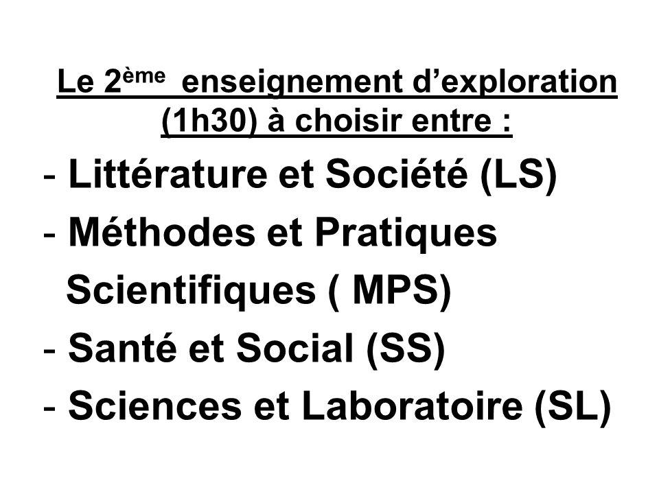 Le 2 ème enseignement dexploration (1h30) à choisir entre : - Littérature et Société (LS) - Méthodes et Pratiques Scientifiques ( MPS) - Santé et Social (SS) - Sciences et Laboratoire (SL)