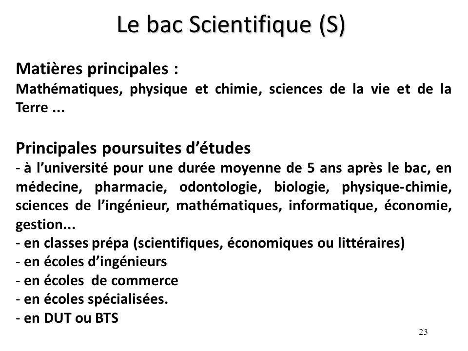 23 Le bac Scientifique (S) Matières principales : Mathématiques, physique et chimie, sciences de la vie et de la Terre...