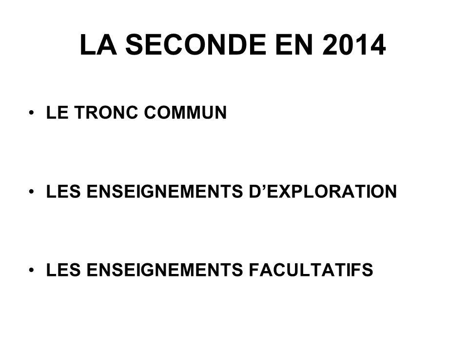 LA SECONDE EN 2014 LE TRONC COMMUN LES ENSEIGNEMENTS DEXPLORATION LES ENSEIGNEMENTS FACULTATIFS