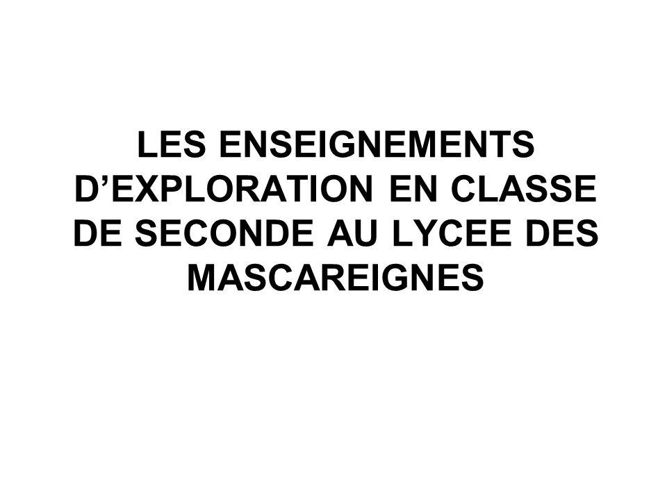 LES ENSEIGNEMENTS DEXPLORATION EN CLASSE DE SECONDE AU LYCEE DES MASCAREIGNES