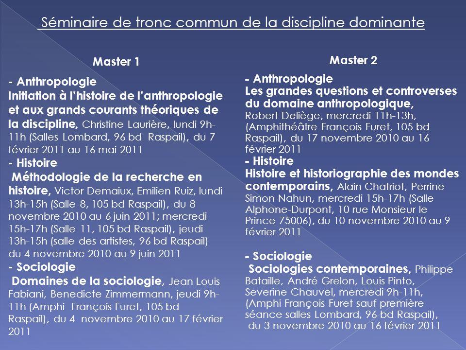 Master 1 - Anthropologie Initiation à lhistoire de lanthropologie et aux grands courants théoriques de la discipline, Christine Laurière, lundi 9h- 11